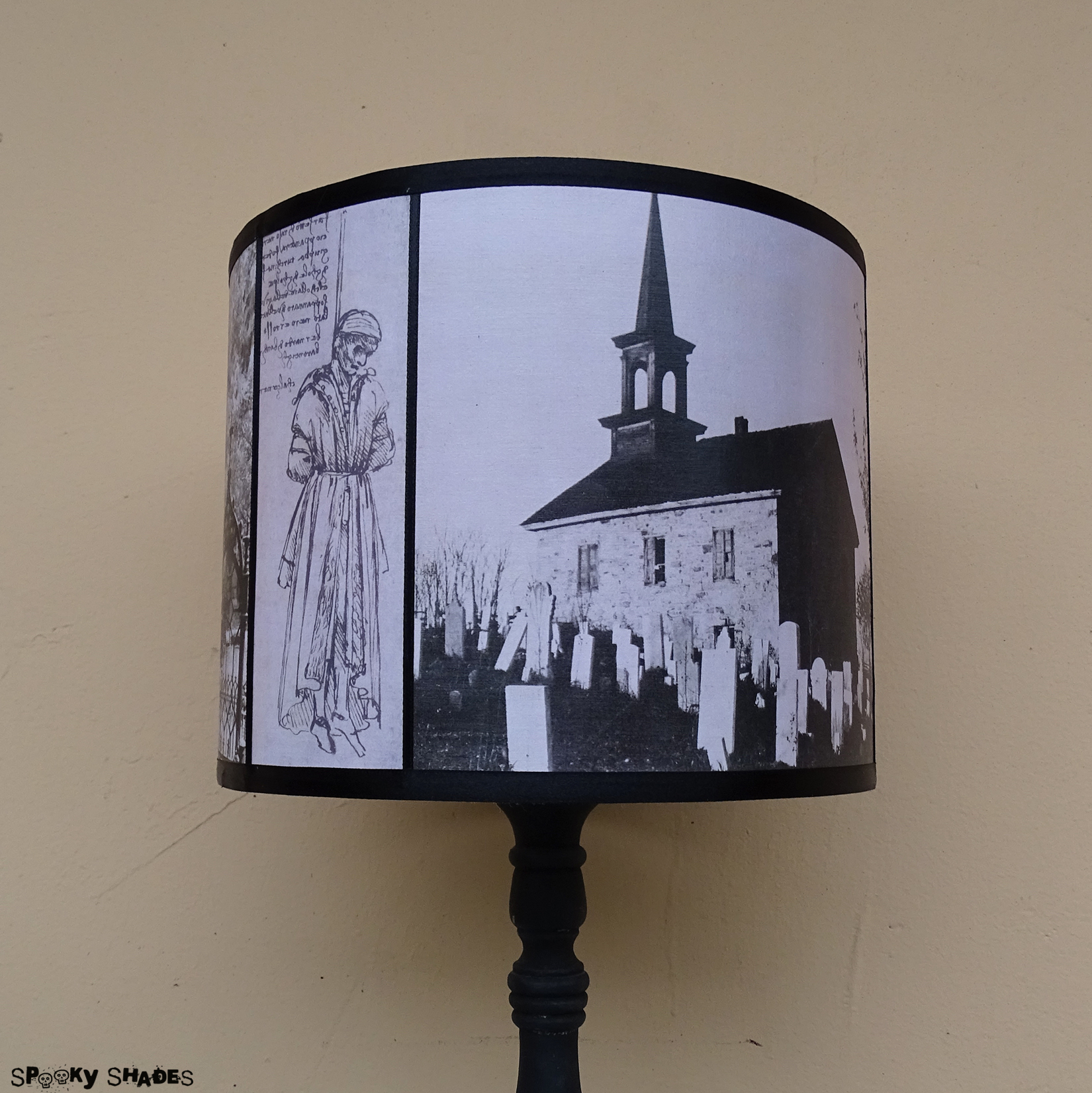 Requiescat in pace graveyards black and white gothic drum lamp shade product details aloadofball Image collections