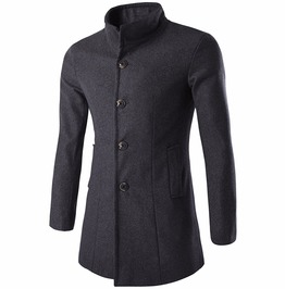 Men's Single Breasted Stand Up Collar Trench Coat