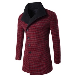 Men's Plaid Oblique Casual Trench Coat