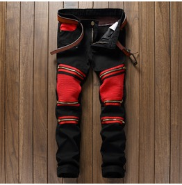 Black And Red Biker Zipper Denim Men's Jeans
