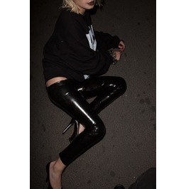 Shiny Latex Leggings In Black