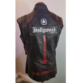 Waxed Black Denim Rocker Vest Hollywood Tribute