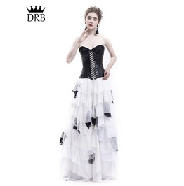 White And Black Romantic Gothic Punk Long Prom Party Dress D1 045