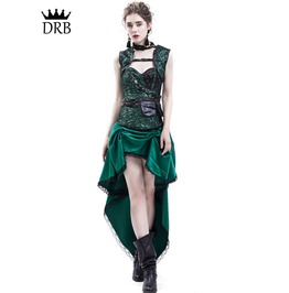 Green Gothic Steampunk Corset Party Dress D1 044