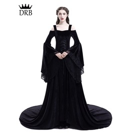 Black Off The Shoulder Renaissance Gothic Medieval Dress D2 025