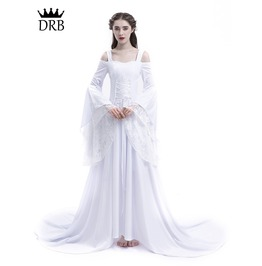 White Renaissance Fairy Tale Medieval Wedding Dress D2 021
