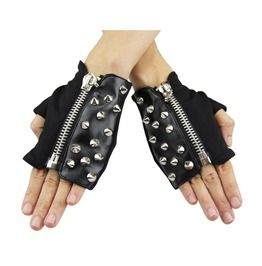Short Leather Spiked Punk Gloves Ge008
