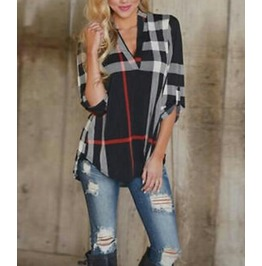 Cool Black With Red White Tartan Top Size Uk 14