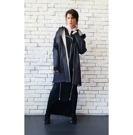 Plus Size Denim Jacket/Loose Long Coat/Extravagant Hooded Jacket/Oversize