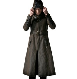 Vintage Coffee Hooded Long Coat For Men