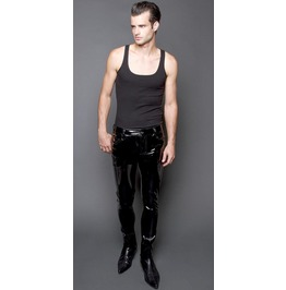Goth Shiny Vinyl Pants Mens Slim Fit Pants Pvc Punk Rocker Emo Pant