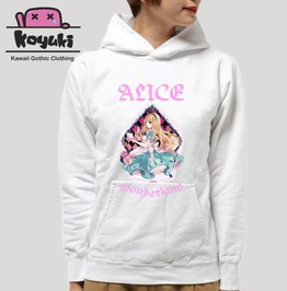 Alice In Wonderland Pastel Gothic White Anime Hoodie