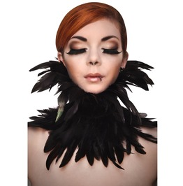 Gothic Black Crow Feather Neck Collar