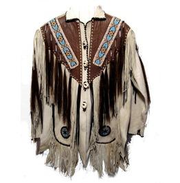 Men Beige Finished Cow Leather Jacket Beads & Long Fringe Work On Jackets