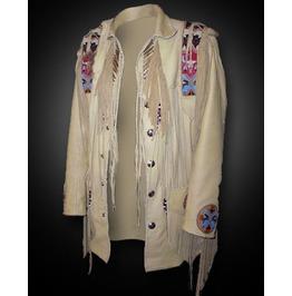 Men Sculley Beige Finished Cow Leather Jacket Western Wear Beads & Fringe