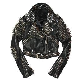 Men Silver Studded Leather Men Black Rock Punk Studded Leather Jackets