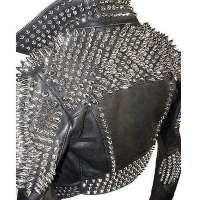 Men Silver Studded Leather Black Rock Punk Studded ...