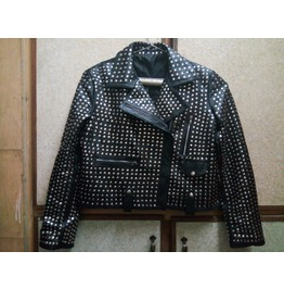 Men Silver Studded Leather Men Black Rock Punk Style Studded Leather Jacket