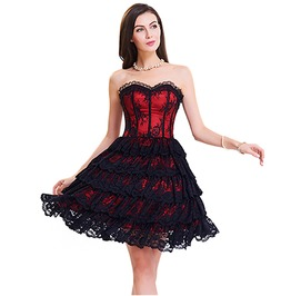 Burlesque Lace Overlay Corset Dress