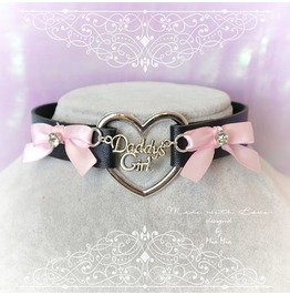 Bdsm Daddys Girl Choker Necklace Black Faux Leather Heart Pink Bow Rhinesto