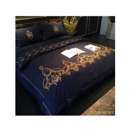 Blue Gothic Vintage Palace Embroidery Comforter Set Dccs 0001