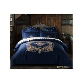 Blue Gothic Vintage Palace Embroidery Comforter Set Dccs 0002