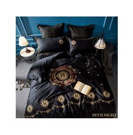 Black Gothic Vintage Palace Embroidery Comforter Set Dccs 0004
