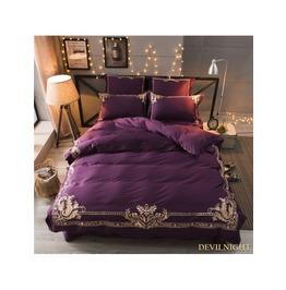 Purple Gothic Vintage Palace Embroidery Comforter Set Dccs 0006