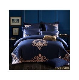Blue Gothic Vintage Palace Embroidery Comforter Set Dccs 0008