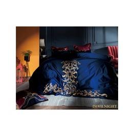 Blue Gothic Vintage Palace Embroidery Comforter Set Dccs 0009