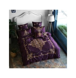 Purple Gothic Vintage Palace Embroidery Comforter Set Dccs 0010