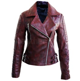 Snake Leather Distressed Pattern Women Dark Maroon Red Leather Jacket