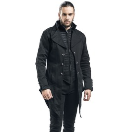 Mens Gothic Steampunk Victorian Tailcoat Jacket With Lace Under Waist
