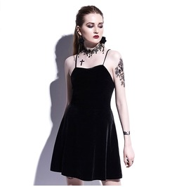 Velvet Backless Mini Gothic Harajuku Womens Dress