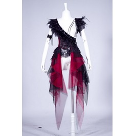 Gothic Steampunk Vampire Pirate Black And Red Corset Style Dress