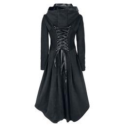 Hooded Midi Warm Lace Up Winter Autumn Coat