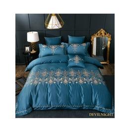 Blue Gothic Vintage Palace Embroidery Comforter Set Dccs 0018