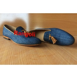 Men Tassel Shoes, Men Jeans Fabric Tassels Shoes, Men Fashion Loafer Shoes