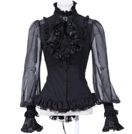 Vintage Frilled High Neck Full Sleeves Shirt 21094