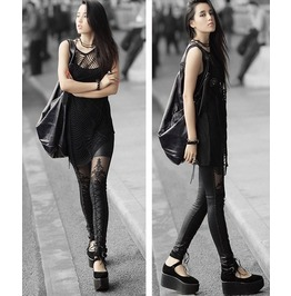 Faux Leather Retro Gothic Punk Style Lace Black Legging