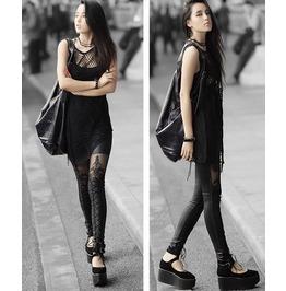 Faux Leather Retro Gothic Punk Style Lace Black Legging