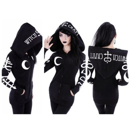 Gothic Punk Women Witch Moon Loose Hood Long Sleeve Casual Sweatshirt
