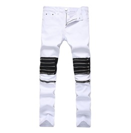 Black And White Zipper Biker Men's Jeans Size Up To 42