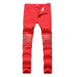Multi Zipper Red Men Biker Men's Jeans Size Up To 42