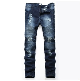 Blue Ripped Denim Biker Men's Jeans Size Up To 42