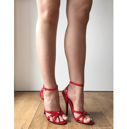 Serina 18cm Stiletto Fetish Sandal Sexy Mistress Tie Strap Red Patent