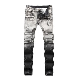 Biker Ripped Distressed Denim Men's Jeans