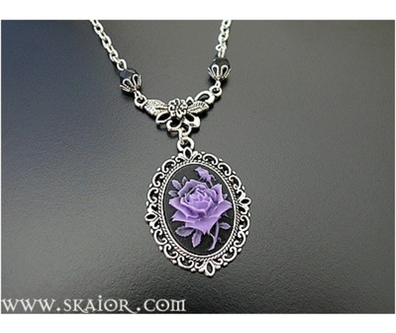 cameo gothic products purple victorian rose necklaces necklace