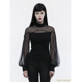Black Gothic Lantern Sleeve T Shirt For Women Wt 492