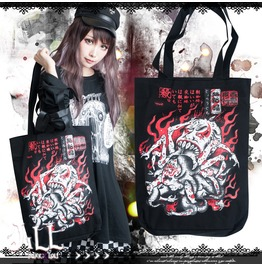 Japan Street Punk Onmyoji Wasp Spider Widow Canvas Shopper Tote Bag Jag0044